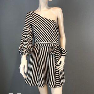 NWT Lovers+Friends Striped One Shoulder Mini Dress